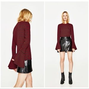 NWT Zara size small ribbed grill sweater red/black
